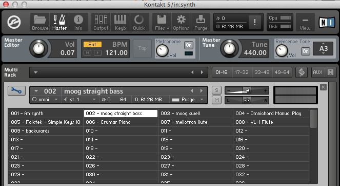Switching Instruments in a Multi-Rack Device in Kontakt, Ableton Live